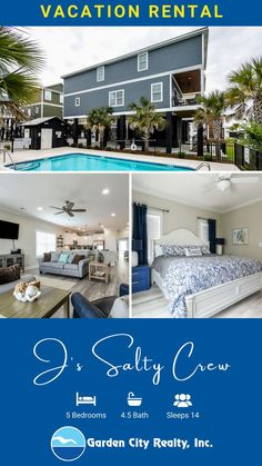 J's Salty Crew is a five-bedroom, four-and-a-half-bath home located 0.1 miles north of Garden City Pier in the second-row beach house community, Retreat at Garden City Beach. Six TVs and Wi-Fi are also provided. Sleeping accommodations include two king, two queen, and two double-sized beds, plus one queen-sized sofa bed. Outdoor amenities include a private covered porch, gas grill, and community pool. Interior stairway. Three covered parking spots. Dog friendly. Maximum occupancy: 14.