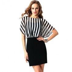 Women O-Neck Striped Chiffon Patchwork High Waist Pencil Mini Dress OL Ladies