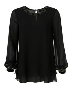 Schwarze Tunika Bluse mit Applikationen am Kragen und Ärmel 17€  Anfang Oktober 2013 im Handel