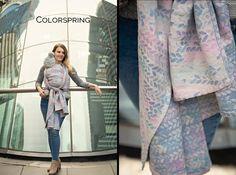 Woven Wings Stockinette Colorspring 58% cotton, 20% linen, 15% wool, 7% silk  full-custom  2018-12-03  Retail prices: Size 4= £ 315.00,  Size 5= £330.00,  Size 6= £345.00,  Size 7=£360.00 Baby Carrying, Stockinette, Duster Coat, Wings, Kimono Top, Retail, Silk, Wool, Pattern