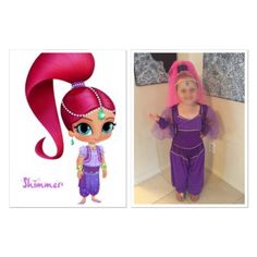 shimmer and shine shimmer costume dreamy genie costume pink tulle wig craft