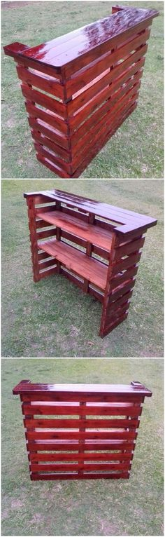 This quite an excellent creation of wood pallet bar counter table that is hence best enough to make it part of your house. As divided into the sections of the shelves, this bar counter unit can come across as best idea to add it in your house furniture accessories as the decorative product.