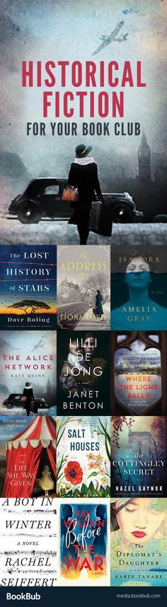 12 historical fiction novels for your book club. These are great book club book ideas and are worth adding to your 2017 reading list.