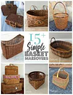 Painted Baskets, Wicker Baskets, Picnic Baskets, Painted Outdoor Furniture, Refurbished Furniture, Repurposed Furniture, Small Chalkboard Signs, Big Basket, Basket Ideas