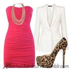 Sexy & sassy. Hot tube dress, blazer, animal print pumps.