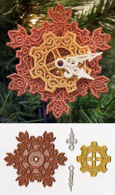 Clockwork Snowflake Ornament (Lace) design (UTZ1554) from UrbanThreads.com
