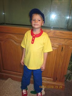 caillou costume: Yellow Polo w/ red felt added to collar Blue Shorts Yellow Socks Red Shoes Blue Cap w/ yellow felt under Bill (or Red w/blue)