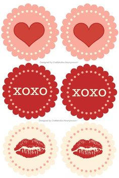 Free Valentine Printable! You can do so much with these- coasters, cupcake toppers, gift tags, etc