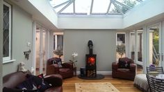 Garden room with log burner maybe two on each side with this in the middle Glass Extension, Roof Extension, Extension Ideas, Inset Stoves, Orangery Extension, Conservatory Kitchen, Shed Homes, Log Burner, House Extensions