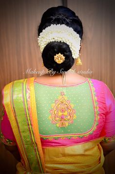 Wedding hairstyle. Hair bun. Silk saree. Saree blouse design.