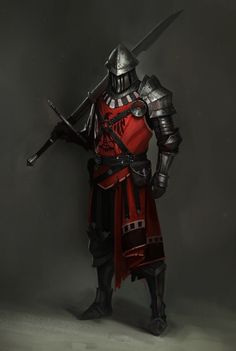 Art featuring medieval knights and their fantasy/sci-fi counterparts. Armadura Medieval, Medieval Knight, Medieval Fantasy, Medieval Armor, Fantasy Armor, Dark Fantasy, Dnd Characters, Fantasy Characters, Armor Concept