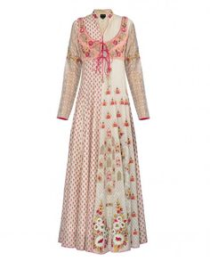 Embroidered and Printed Ivory Suit