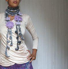 flower motif crochet scarf patterns | PATTERN – Crocheted Diamond Scarf with flowers – Scarf 6
