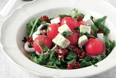 Salad with rocket, water melon and feta cheese
