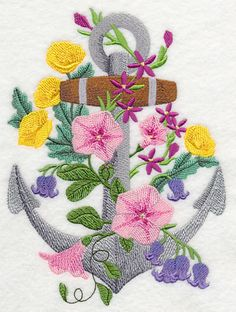 Anchor Blooms, embroidered towel, tea towel, dish towel, hand towel, flour sack towel, tote, pillow cover. by embroiderybybeverly on Etsy