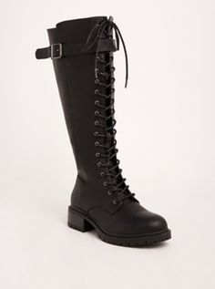 Outfit Ideas Discover Lace Up Knee-High Combat Boots (Wide Width & Wide Calf) Cowboy Boot Outfits, Dresses With Cowboy Boots, Style Converse, Converse Outfits, Thigh High Boots Dress, Knee High Boots, Brown Leather Shoes, Wide Calf Boots, Fashion Heels