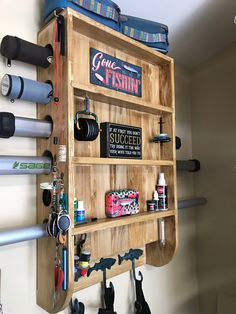 Fishing Pole Holder, Fishing Shack, Fishing Rod Storage, Fly Fishing Equipment, Fly Fishing Gear, Gone Fishing, Fly Tying Desk, Homemade Fishing Lures, Cool Wood Projects