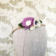 Mini Felt Flower Trio Bloom Crown Purple Felt Flower