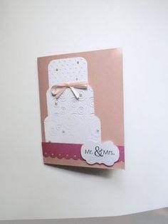 Wedding Cake Card Wedding Card Pink & White Wedding Card