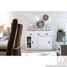 Anrichte HALIFAX Weiß B125cm Sideboard Kommode Massiv   Hochwertige Weiße  Kommode Im Landhausstil. Die Antikausführung