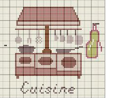 Maison - house - cuisine - point de croix - cross stitch - Blog : http://broderiemimie44.canalblog.com/