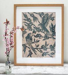 Petrol Vogel-Kirsche Blüte Kunstdruck botanische Wandkunst