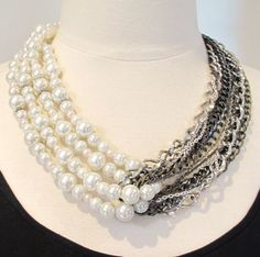 Twisted pearls and chain cluster necklace mixed door kirstenann, $130.00