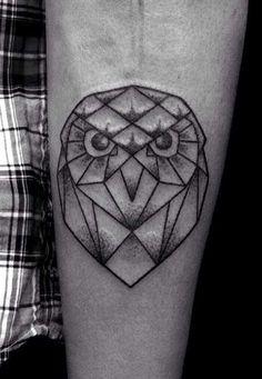 Geometric Owl Tattoo                                                       …