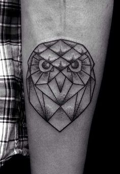 Geometric owl tattoo - photo#23