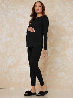 Maternity Solid Top With Legging Soft Pajama Set