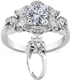 floral Engagement ring with bows