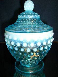 *FENTON ART GLASS ~ Blue Opalescent Hobnail Covered Candy Dish