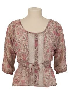 This casual top has a romantic, muted paisley print on chiffon fabric. The silhouette of elastic dolman sleeves and a smocked waist shows off your curves. Lace down the button up front is soft and feminine. Imported. Tank top sold separately. Self tie waist. In store style #: 89978. 100% polyester, 100% nylon lace. Machine wash.