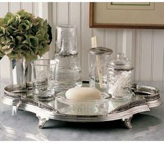 Vanity Tray by Pierre Duex- A reproduction of a silver-plated 18th-century