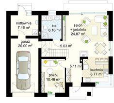 Taurus 3 G projekt - Parter m² + garaż m² Taurus, House Plans, Floor Plans, Exterior, How To Plan, Architecture, Houses, Smart Home, Arquitetura