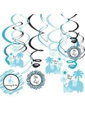 Blue Safari Baby Shower Swirl Decorations-Party City