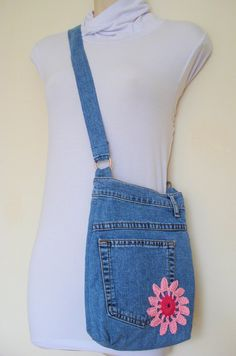 Upcycled denim cross body handbag purse with pink lining by Pukalu, $40.00