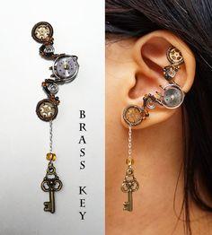 Brazalete de oído Steampunk Dangly clave violín caballo