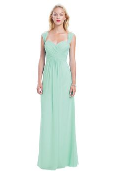 Bill Levkoff. Chiffon gown with a sweetheart neckline and pleated shoulder straps that form a V-back. Criss-cross pleated bodice and soft front gathers.