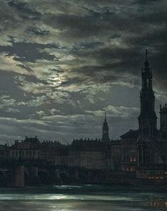 View of Dresden by Moonlight (Detail) -  Johan Christian Dahl 1839
