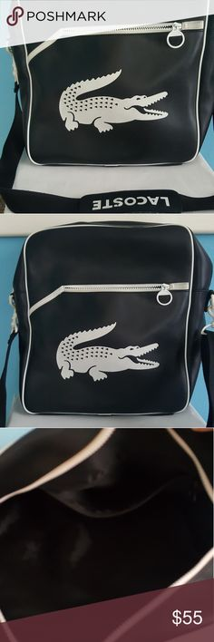 Todays Special! Lacoste logo tote bag. Lacoste black and white tote bag. Great size. Removable shoulder strap. Great condition.  Used a couple times. !Delayed Shipping on this item! Lacoste Bags Laptop Bags