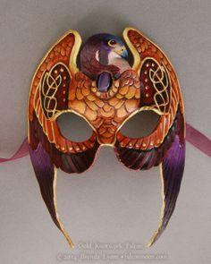 Gold Knotwork Falcon – Leather Mask with Stone by windfalcon.devian… on Gold Knotwork Falcon – Leather Mask with Stone by windfalcon.devian… on Purple Cat, Beautiful Mask, Leather Mask, Bird Wings, Carnival Masks, Masks Art, Venetian Masks, Masquerade Ball, Mask Design