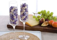 Great idea - create custom candies for a bridal shower or engagement party and display them in champagne glasses. #mymms #wedding