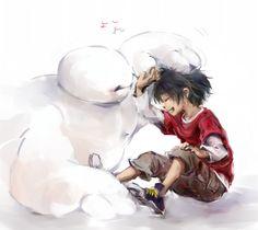 big hero 6 fan art | Hiro and Baymax <3
