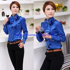 Korean Style Women Blouse 2014 Office Lady Shirts Fashion Tops Summer Casual Wear Freeshipping Ruffles Collar