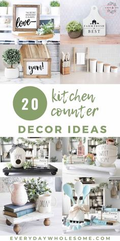 My favorite 20 Kitchen Counter Decor Ideas that are both Modern & Farmhouse. Decorative Trays, Bar Stools & vases. Simple, easy ideas to decorate your kitchen countertops.