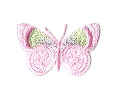 Butterfly - Insect - Pink, Green & White - Embroidered Iron On Applique Patch | Crafts, Sewing, Embellishments & Finishes | eBay!