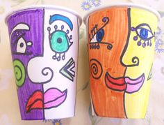 Picasso Paper Cups. Use as inside/outside vessels or as worry containers