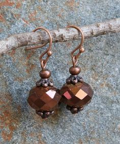 Love this Coppertone Shimmer Bead Drop Earrings on #zulily! #zulilyfinds