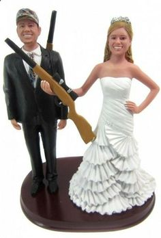 Hunting Bride And Groom With Shotguns Wedding Cake Topper Customized To Look Like You